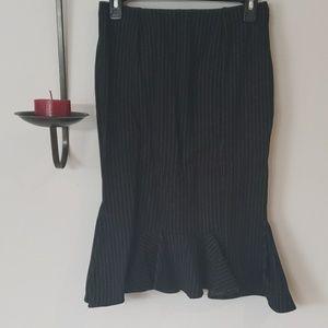 Express Black Stripe Skirt, Fit & Flare, Size 4